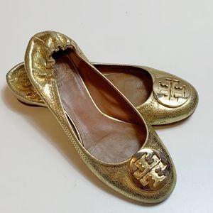 Tory Burch Metallic Speckled Gold Reva Ballet Flat